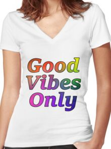 Good Vibes Only Gradient Black Women's Fitted V-Neck T-Shirt
