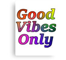 Good Vibes Only Gradient with Black Outline Canvas Print