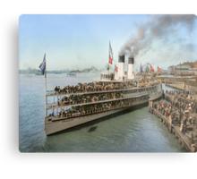 Sidewheeler Tashmoo leaving wharf in Detroit, ca 1901 Colorized Metal Print