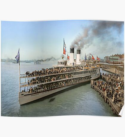 Sidewheeler Tashmoo leaving wharf in Detroit, ca 1901 Colorized Poster