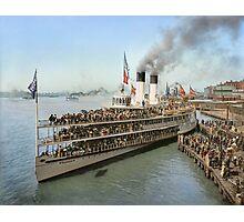 Sidewheeler Tashmoo leaving wharf in Detroit, ca 1901 Colorized Photographic Print