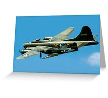 P-63A Kingcobra with B-17G Fortress II Greeting Card