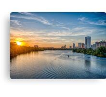 Sunset over Ladybird Lake Austin Canvas Print