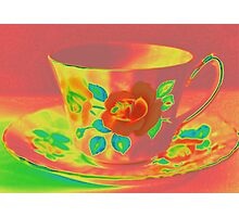 Vintage Red Coral Rose Teacup | Old Floral Tea Cup | Pop Art Photographic Print