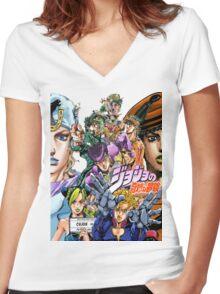 Joestar Family Tree Women's Fitted V-Neck T-Shirt