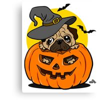 Funny Halloween cartoon pug Canvas Print