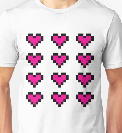 12 Pixel Hearts - Pink Unisex T-Shirt