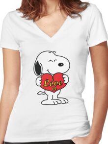 Snoopy Fans love Women's Fitted V-Neck T-Shirt