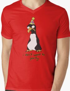 Party Penguin Mens V-Neck T-Shirt