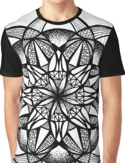 Seed of Life Mandala Pen and Ink Texture Graphic T-Shirt
