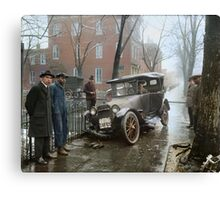 Auto Wreck in Washington DC, 1921. Colorized Canvas Print