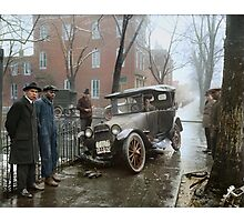 Auto Wreck in Washington DC, 1921. Colorized Photographic Print