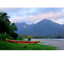 Outrigger Canoe At Hanalei Bay Photographic Print