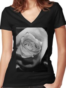 Rose Black and White Women's Fitted V-Neck T-Shirt
