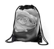 Rose Black and White Drawstring Bag