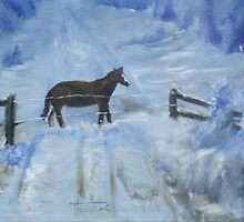 Horse in the Snow by tusitalo