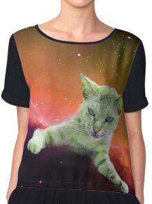 Tilted Cat in Space Chiffon Top