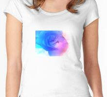 Blue Glowing Rose Design Women's Fitted Scoop T-Shirt