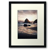 Pacific Coast Sunset in Oregon Framed Print