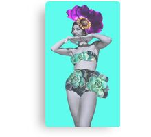 Bikini Girl - Vintage Photo Collage Succulent Flower Canvas Print