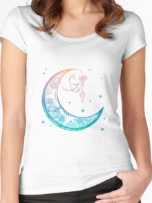 Crescent Moon Mandala illustration Women's Fitted Scoop T-Shirt