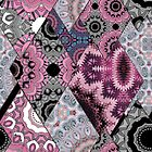 The national pattern in the patchwork . Purple soft grey and blue colours.  by fuzzyfox