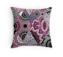 The national pattern in the patchwork . Purple soft grey and blue colours.  Throw Pillow