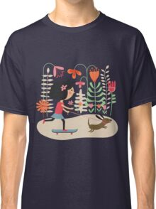 Girl on skateboard with her dog Classic T-Shirt