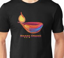 Happy Diwali Colourful Lamp Diya Multi-Colour T-Shirt. Unisex T-Shirt