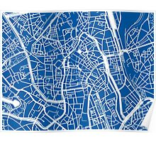 Ghent Map - Blue Poster
