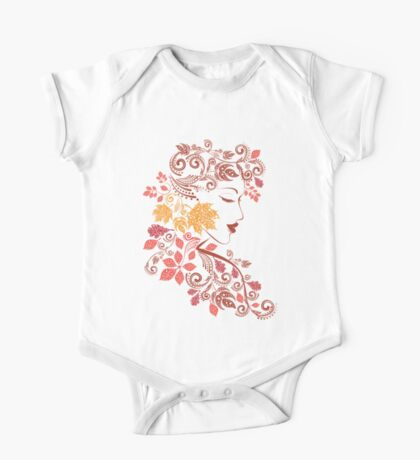 Autumn Girl with Floral 7 One Piece - Short Sleeve