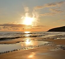 Traeth Mawr Sunset by Paula J James