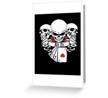 ALL IN SKULLS ROSES 4 OF A KIND ACES WITH POKER CHIPS SHIRT Greeting Card
