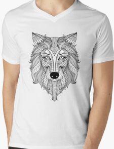 Wolf Illustration Mens V-Neck T-Shirt