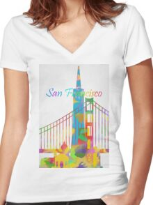 Abstract watercolor San Francisco Women's Fitted V-Neck T-Shirt