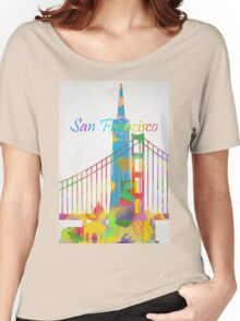 Abstract watercolor San Francisco Women's Relaxed Fit T-Shirt