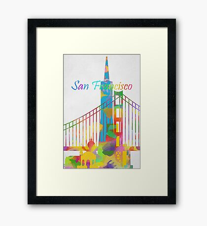 Abstract watercolor San Francisco Framed Print