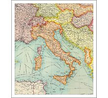 Vintage Italy map Photographic Print