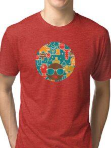 Robots on blue Tri-blend T-Shirt