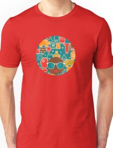 Robots on blue Unisex T-Shirt