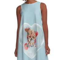 Heart with Skull Flower Power A-Line Dress