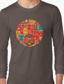 Robots on red Long Sleeve T-Shirt