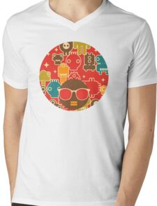 Robots on red Mens V-Neck T-Shirt
