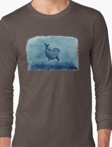Blue Notches the Watercolor Dolphin Long Sleeve T-Shirt