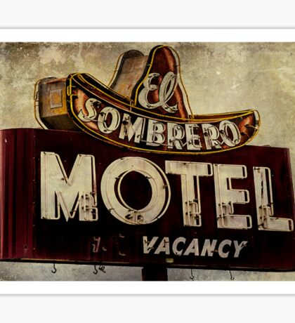 Vintage El Sombrero Motel Sign, Salinas, CA. Sticker