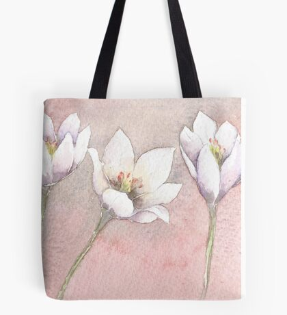 White and Purple Crocus Tote Bag