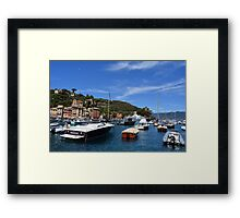 6 August 2016 Natural scenery with sea and yachts from Portofino vacation resort, an Italian fishing village, Genoa province, Italy. Framed Print