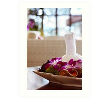 Thai spa massage decor in an interior Art Print