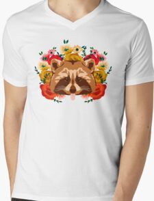 Raccoon with flowers Mens V-Neck T-Shirt