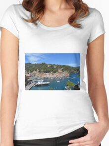 6 August 2016 Natural scenery with sea and yachts from Portofino vacation resort, an Italian fishing village, Genoa province, Italy. Women's Fitted Scoop T-Shirt